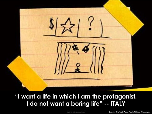 """""""I want a life in which I am the protagonist.    I do not want a boring life"""" -- ITALY                   Classified - Inte..."""