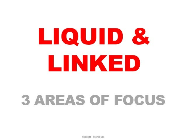 LIQUID &  LINKED3 AREAS OF FOCUS      Classified - Internal use