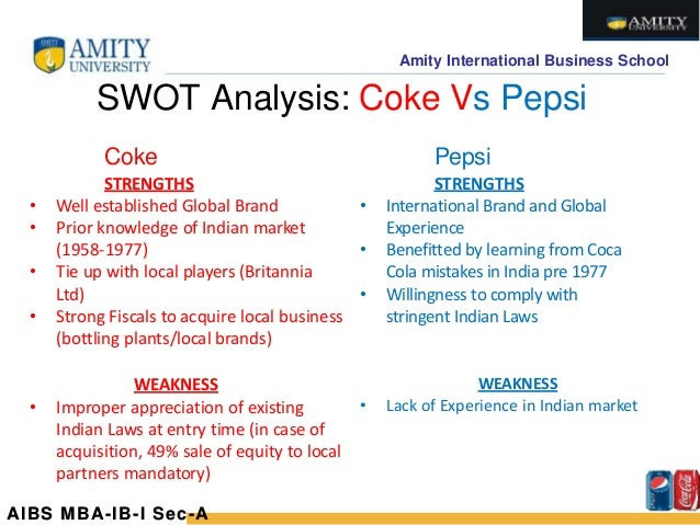 swot pepsi and coca cola Go to pepsi swot analysis 2018 year 2015 proved to be a  its product  portfolio can be challenged only by coca cola the 22 brands in its.