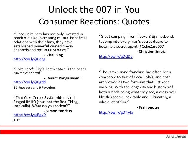 "analysis of skyfall and coke zero Coke zero viral video: unlock the 007 in unit to support coke zero's association with the newest bond movie ""skyfall"" 10 how coke zero became a."