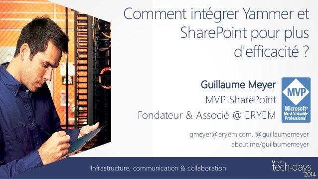 Comment intégrer Yammer et SharePoint pour plus d'efficacité ? Guillaume Meyer MVP SharePoint Fondateur & Associé @ ERYEM ...