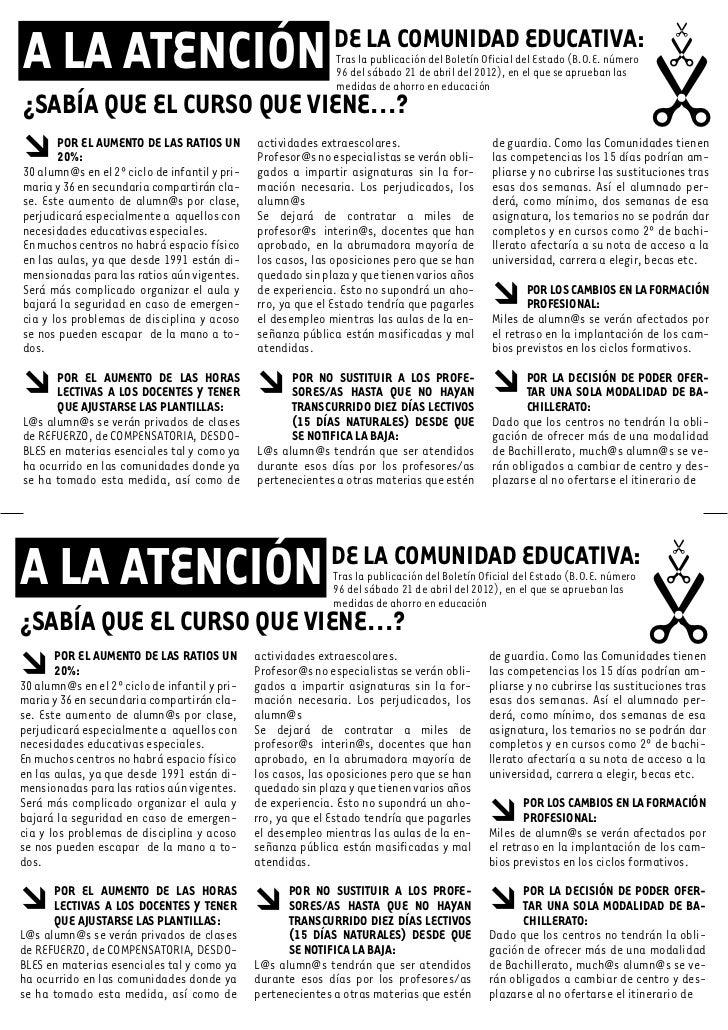 A LA ATENCIÓN                                                 DE LA COMUNIDAD EDUCATIVA:                                  ...