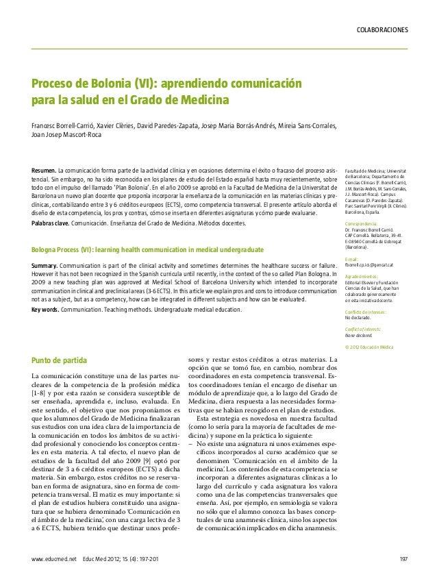 197www.educmed.net Educ Med 2012; 15 (4): 197-201COLABORACIONESPunto de partidaLa comunicación constituye una de las part...