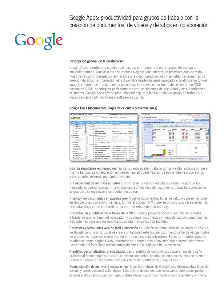 Google Apps: productividad para grupos de trabajo con la creación de documentos, de vídeos y de sitios en colaboración    ...