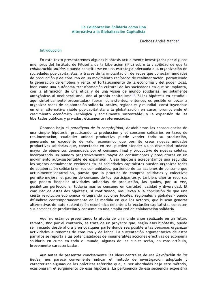 La Colaboración Solidaria como una                        Alternativa a la Globalización Capitalista                      ...