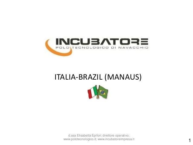 ITALIA-BRAZIL (MANAUS)  d.ssa Elisabetta Epifori; direttore operativo; www.polotecnologico.it; www.incubatoreimpresa.it  1