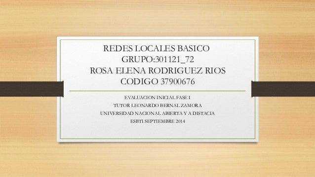 REDES LOCALES BASICO  GRUPO:301121_72  ROSA ELENA RODRIGUEZ RIOS  CODIGO 37900676  EVALUACION INICIAL FASE I  TUTOR LEONAR...