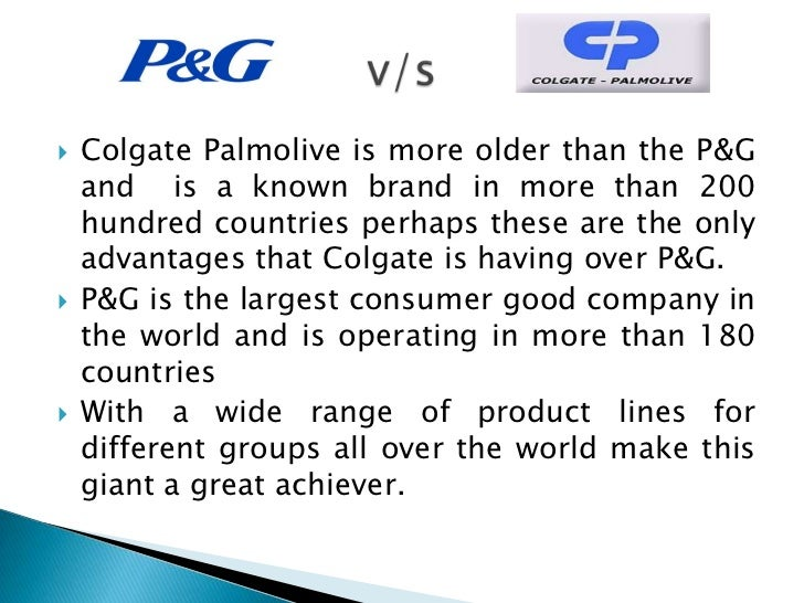 p g vs colgate Individual case analysis colgate vs p&g game theory and strategic marketing individual case analysis [pic] brighter smiles for the masses----colgate vs p&g.