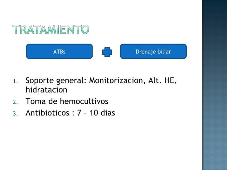 <ul><li>Soporte general: Monitorizacion, Alt. HE, hidratacion </li></ul><ul><li>Toma de hemocultivos </li></ul><ul><li>Ant...