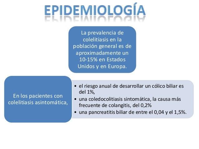 La prevalencia de                                 colelitiasis en la                             población general es de  ...