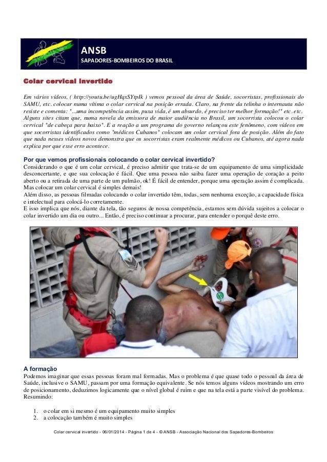 Colar cervical invertido - 06/01/2014 - Página 1 de 4 - © ANSB  - Associação Nacional dos Sapadores-Bombeiros  ANSB  SAPAD...