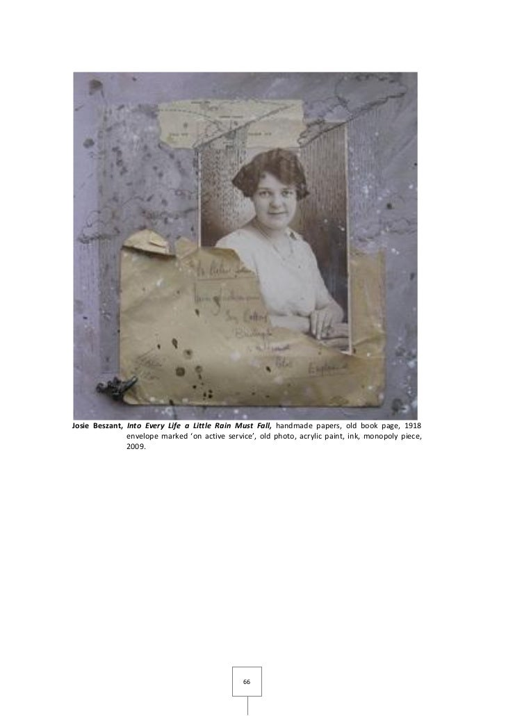 Josie Beszant, Into Every Life a Little Rain Must Fall, handmade papers, old book page, 1918               envelope marked...