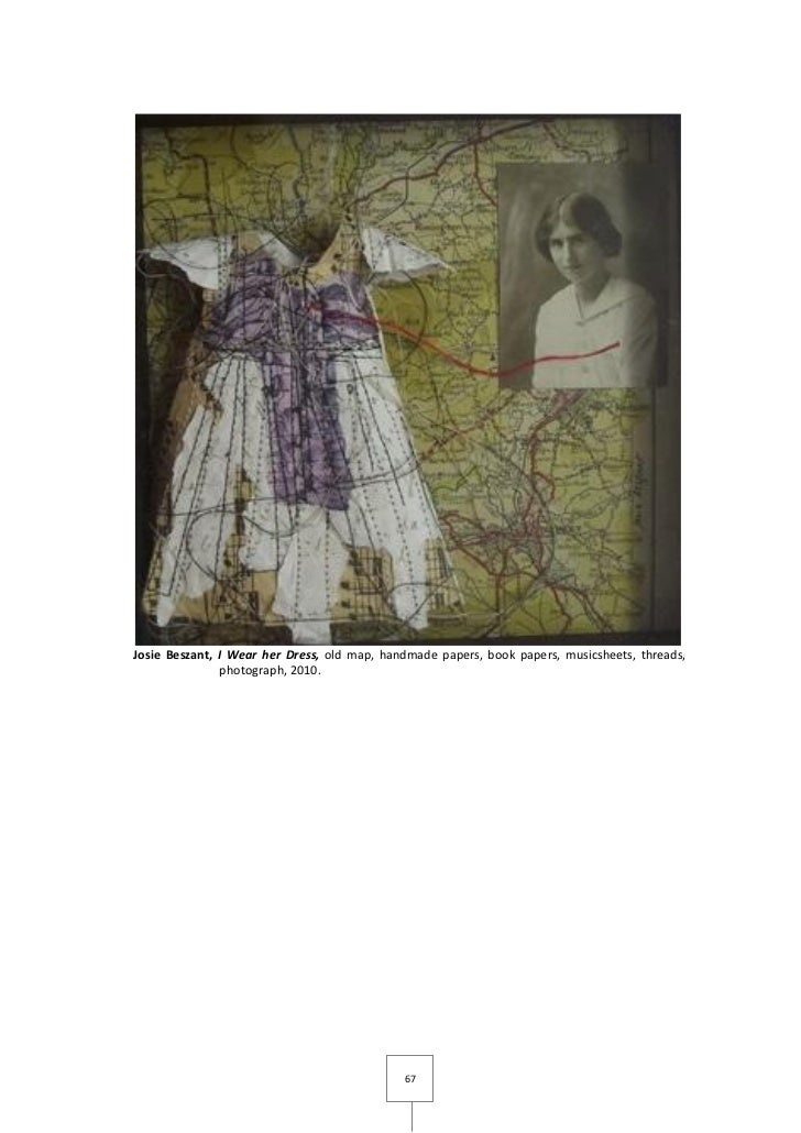 Josie Beszant, I Wear her Dress, old map, handmade papers, book papers, musicsheets, threads,               photograph, 20...