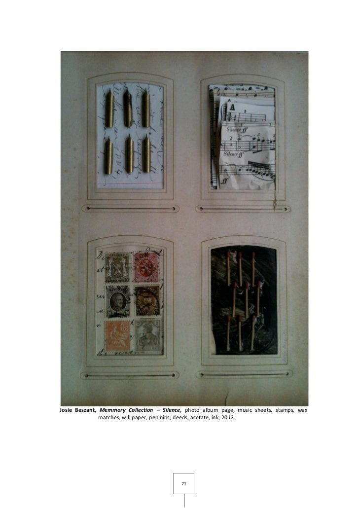 Josie Beszant, Memmory Collection – Silence, photo album page, music sheets, stamps, wax               matches, will paper...