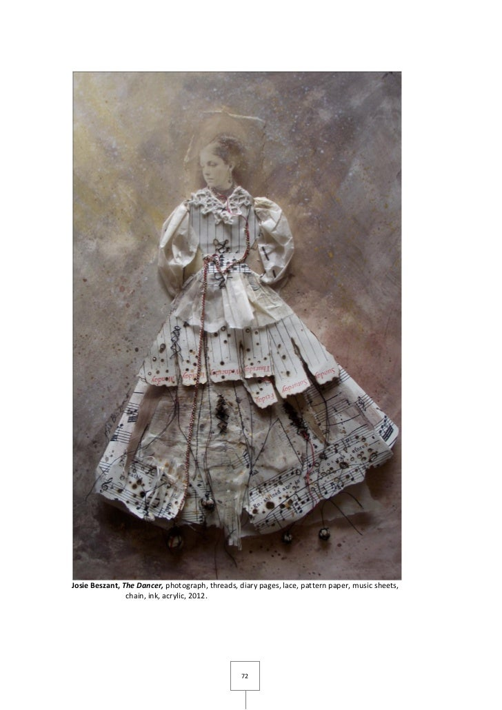 Josie Beszant, The Dancer, photograph, threads, diary pages, lace, pattern paper, music sheets,                chain, ink,...