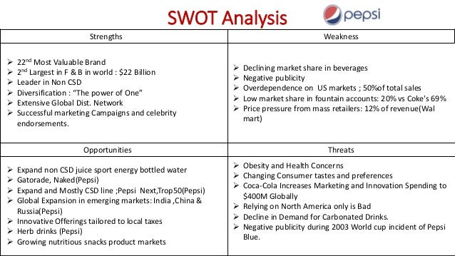 pepsi mission and swot analysis View notes - pepsico_swot_analysis from business s 340 at devry chicago the company pepsico, inc is the result of the merging of pepsi cola and frito lay pepsi cola was established in new bern,.