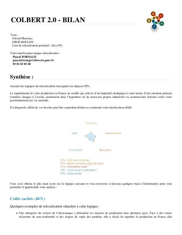 COLBERT 2.0 - BILAN Vous : Gérard Manvuça GROS BOULON Lieu de relocalisation potentiel : Jura (39) Votre interlocuteur uni...