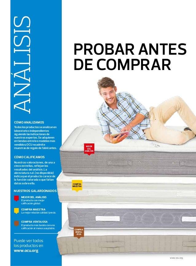 PROBAR ANTES DE COMPRAR Puede ver todos los productos en www.ocu.org ANALISIS Todoslosproductosseanalizanen laboratoriosin...