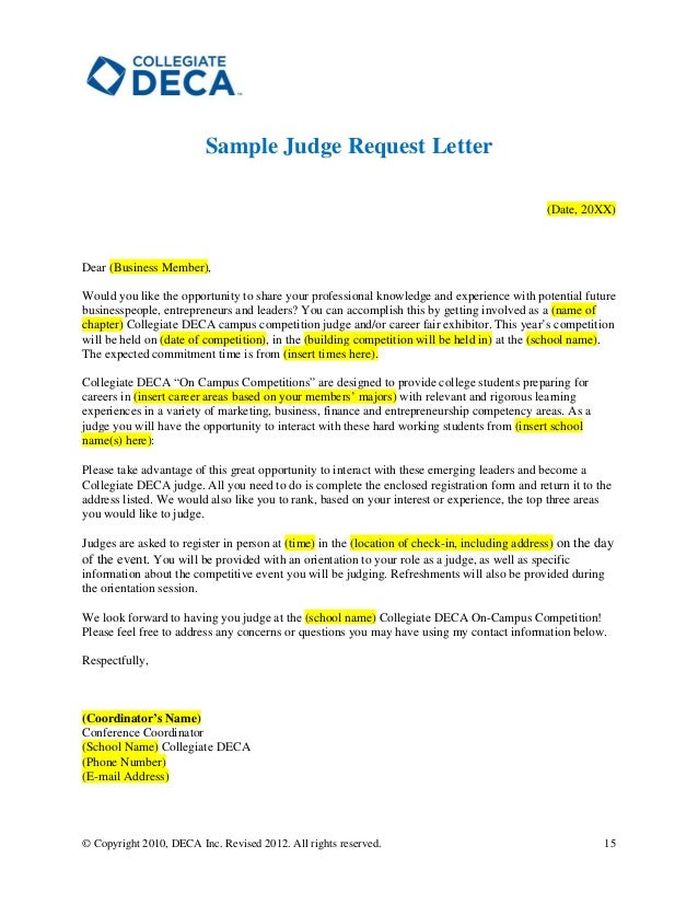 writing a letter to a judge sample
