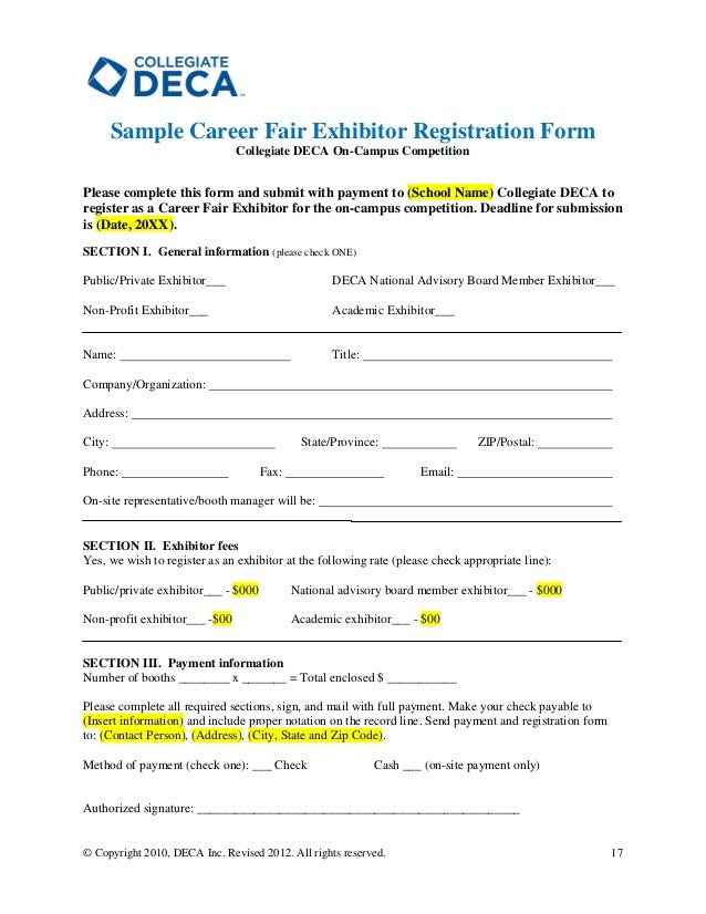 Collegiate DECA Campus Competition Host Guide – Sample School Registration Form