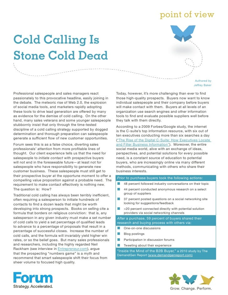point of viewCold Calling IsStone Cold Dead                                                                               ...
