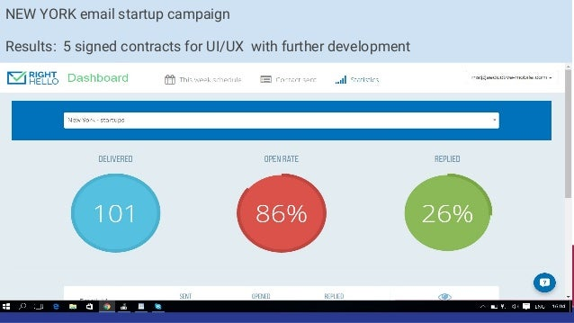 New York startups batch 2 Results: 1 signed contract for development mobile app