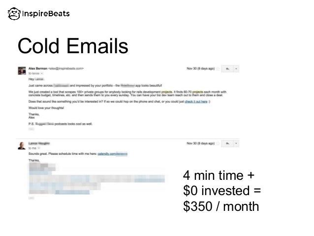 Cold Emails 4 min time + $0 invested = $350 / month
