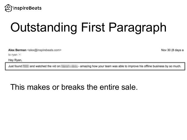 This makes or breaks the entire sale. Outstanding First Paragraph