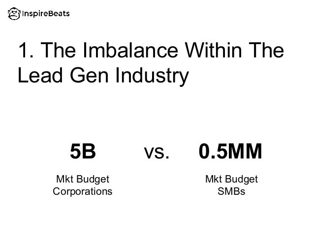 1. The Imbalance Within The Lead Gen Industry 5B 0.5MMvs. Mkt Budget Corporations Mkt Budget SMBs