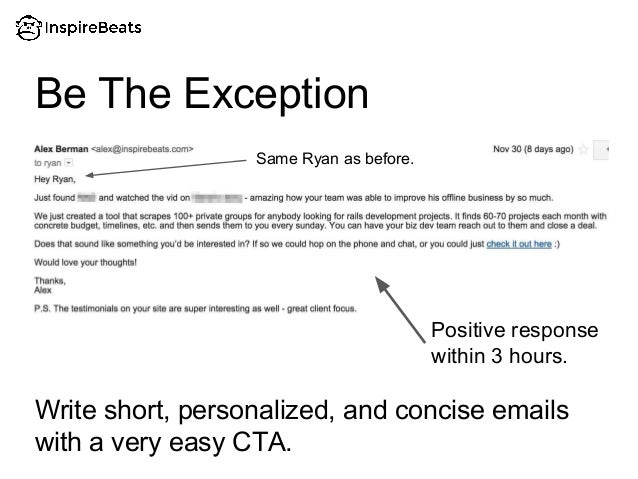 Write short, personalized, and concise emails with a very easy CTA. Be The Exception Positive response within 3 hours. Sam...