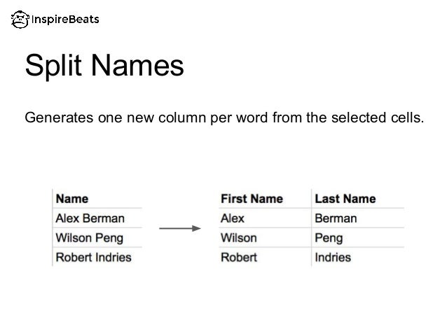 Generates one new column per word from the selected cells. Split Names