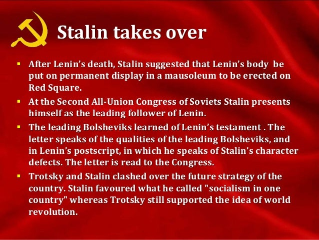 Stalin takes over cont.  The 14th Party Congress adopts Stalin's view on industrialization. The Russian Communist Party i...