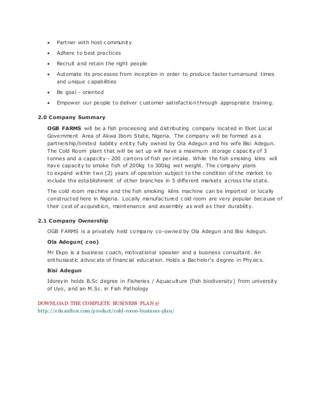 fish and chips business plan sample