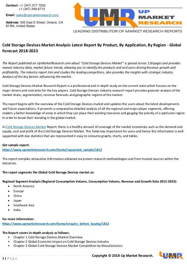 Cold storage devices market size, share, trends analysis