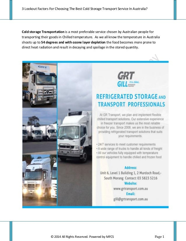 3 Lookout Factors For Choosing The Best Cold Storage Transport Service In Australia?  sc 1 st  SlideShare & Refrigerated Truck Hire Melbourne Services In melbourne
