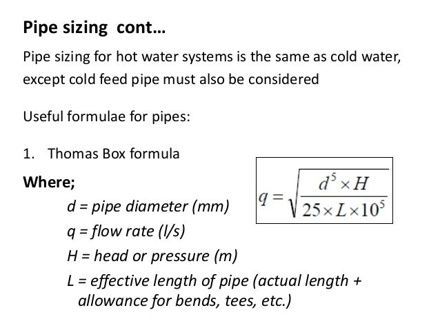 Cold Water Supply And Pipe Sizing