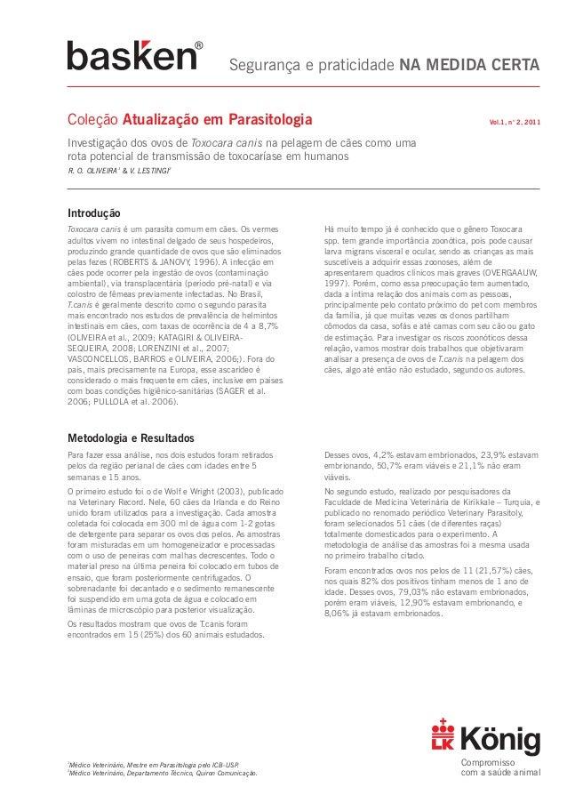 """Fl Segurança e praticidade NA MEDIDA CERTA  Coleção Atualização em Parasitologia  Vol.1, n"""" 2,2011  Investigação dos ovos ..."""