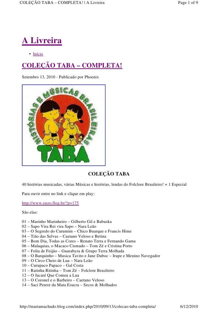 COLEÇÃO TABA – COMPLETA! | A Livreira                                                      Page 1 of 9 A Livreira     • In...