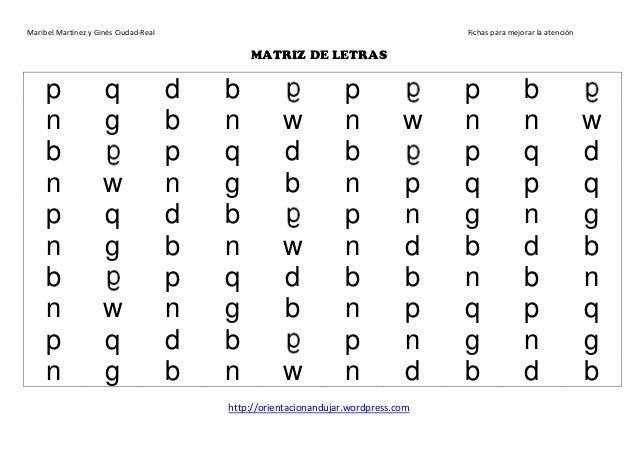 Maribel Martínez y Ginés Ciudad-Real Fichas para mejorar la atención http://orientacionandujar.wordpress.com MATRIZ DE LET...
