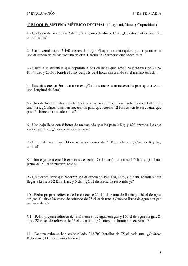 1ª EVALUACIÓN                                                         5º DE PRIMARIA4º BLOQUE: SISTEMA MÉTRICO DECIMAL ( l...