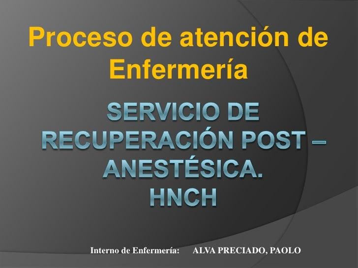 Proceso de atención de     Enfermería    Interno de Enfermería:   ALVA PRECIADO, PAOLO