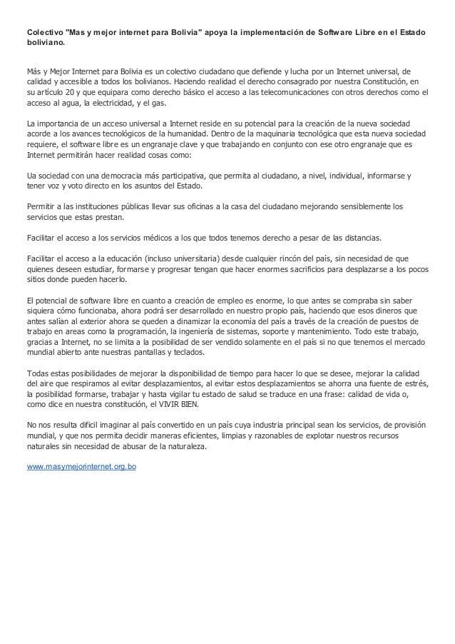 """Colectivo """"Mas y mejor internet para Bolivia"""" apoya la implementación de Software Libre en el Estado boliviano. Más y Mejo..."""