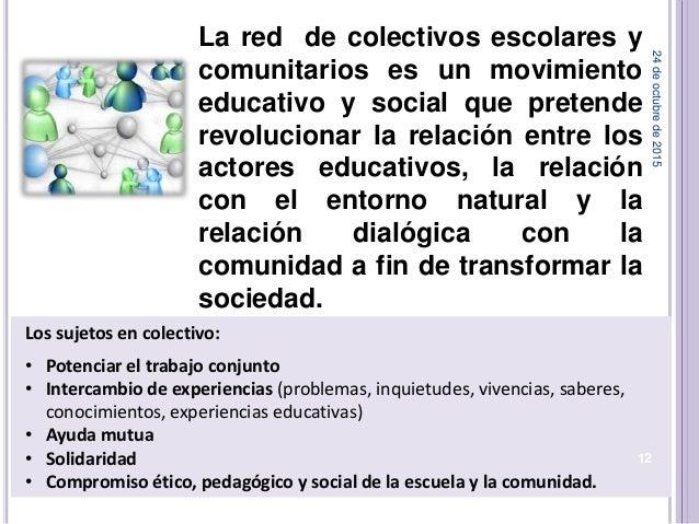 Los sujetos en colectivo: • Potenciar el trabajo conjunto • Intercambio de experiencias (problemas, inquietudes, vivencias...