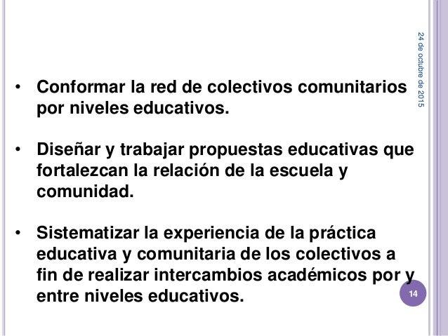 24deoctubrede2015 14 • Conformar la red de colectivos comunitarios por niveles educativos. • Diseñar y trabajar propuestas...