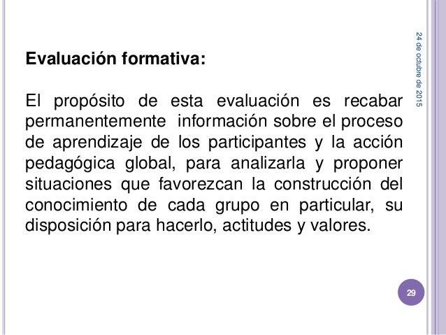 Evaluación formativa: El propósito de esta evaluación es recabar permanentemente información sobre el proceso de aprendiza...