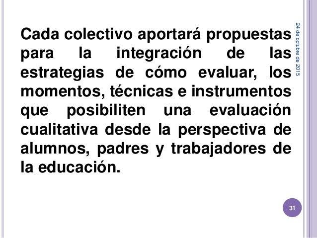 Cada colectivo aportará propuestas para la integración de las estrategias de cómo evaluar, los momentos, técnicas e instru...