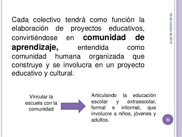 Cada colectivo tendrá como función la elaboración de proyectos educativos, convirtiéndose en comunidad de aprendizaje, ent...