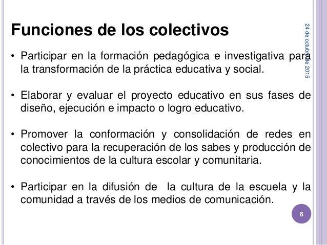 24deoctubrede2015 6 Funciones de los colectivos • Participar en la formación pedagógica e investigativa para la transforma...
