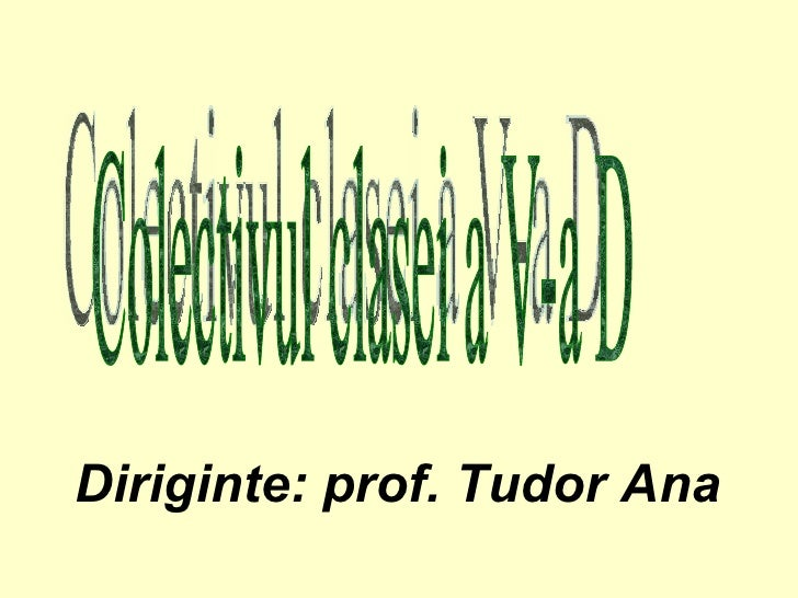 Colectivul clasei a V-a D Diriginte: prof. Tudor Ana