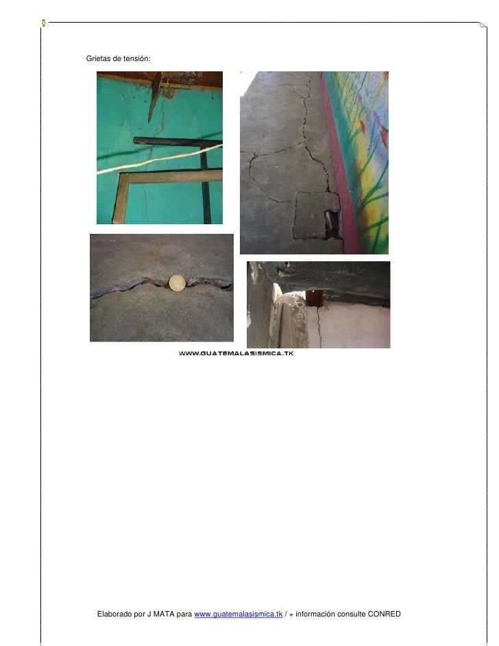 Grietas de tensión:        Elaborado por J MATA para www.guatemalasismica.tk / + información consulte CONRED